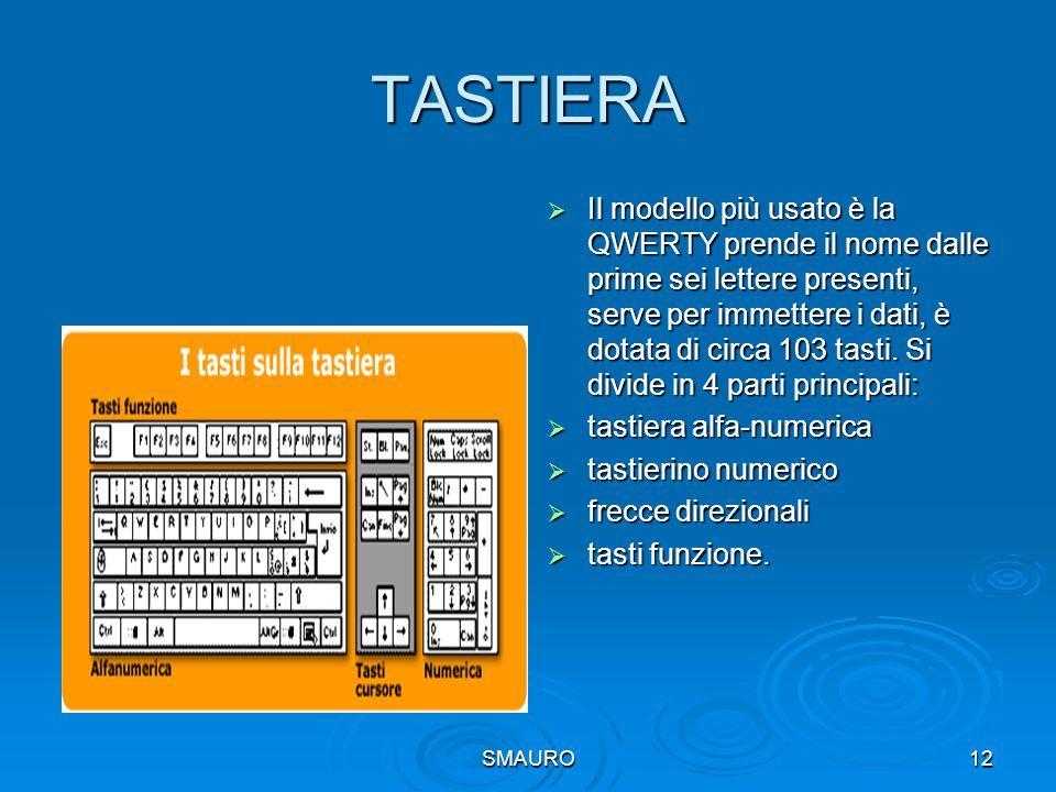 SMAURO12 TASTIERA  Il modello più usato è la QWERTY prende il nome dalle prime sei lettere presenti, serve per immettere i dati, è dotata di circa 10