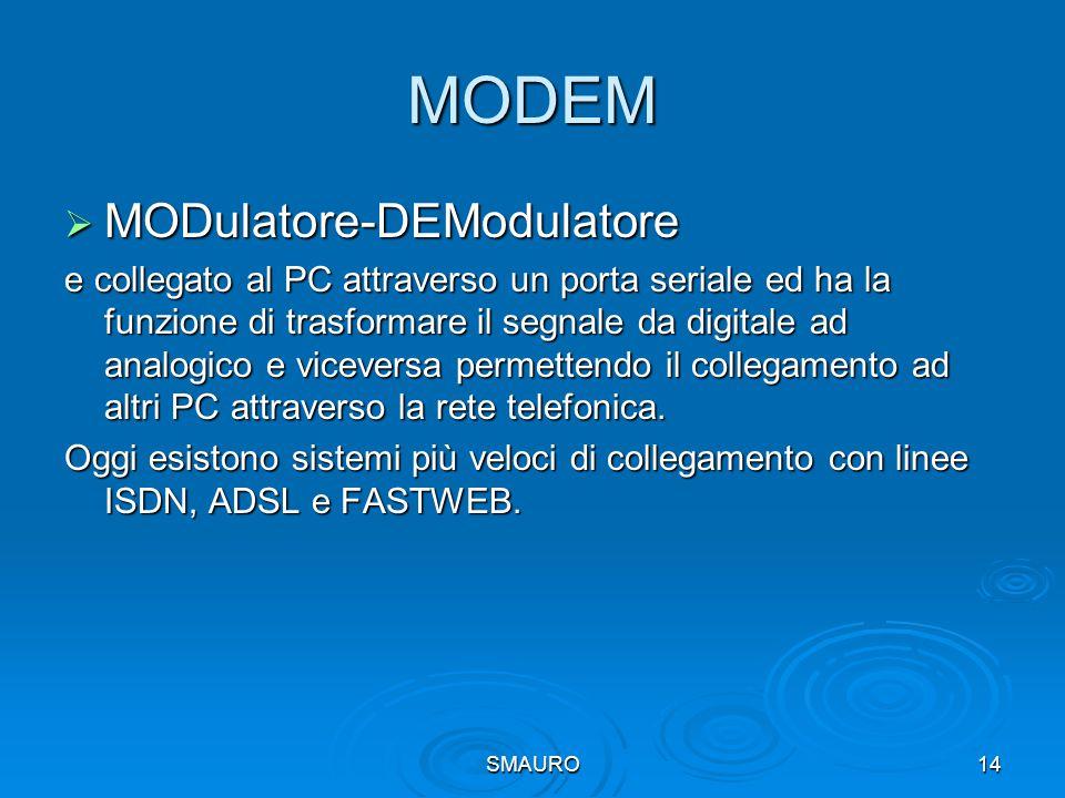SMAURO14 MODEM  MODulatore-DEModulatore e collegato al PC attraverso un porta seriale ed ha la funzione di trasformare il segnale da digitale ad anal