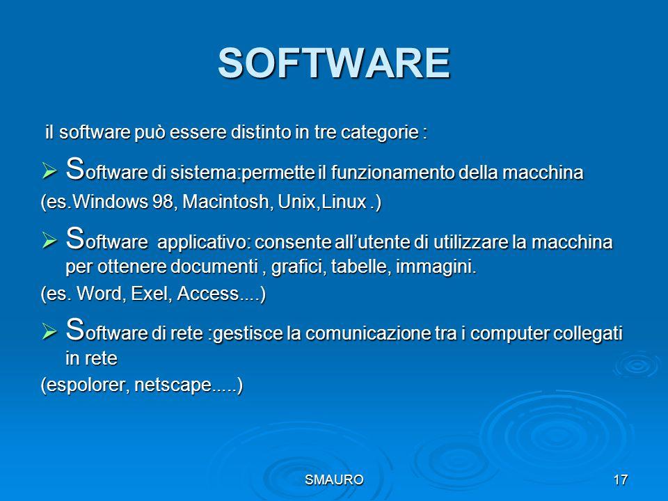 SMAURO17 SOFTWARE il software può essere distinto in tre categorie : il software può essere distinto in tre categorie :  S oftware di sistema:permett