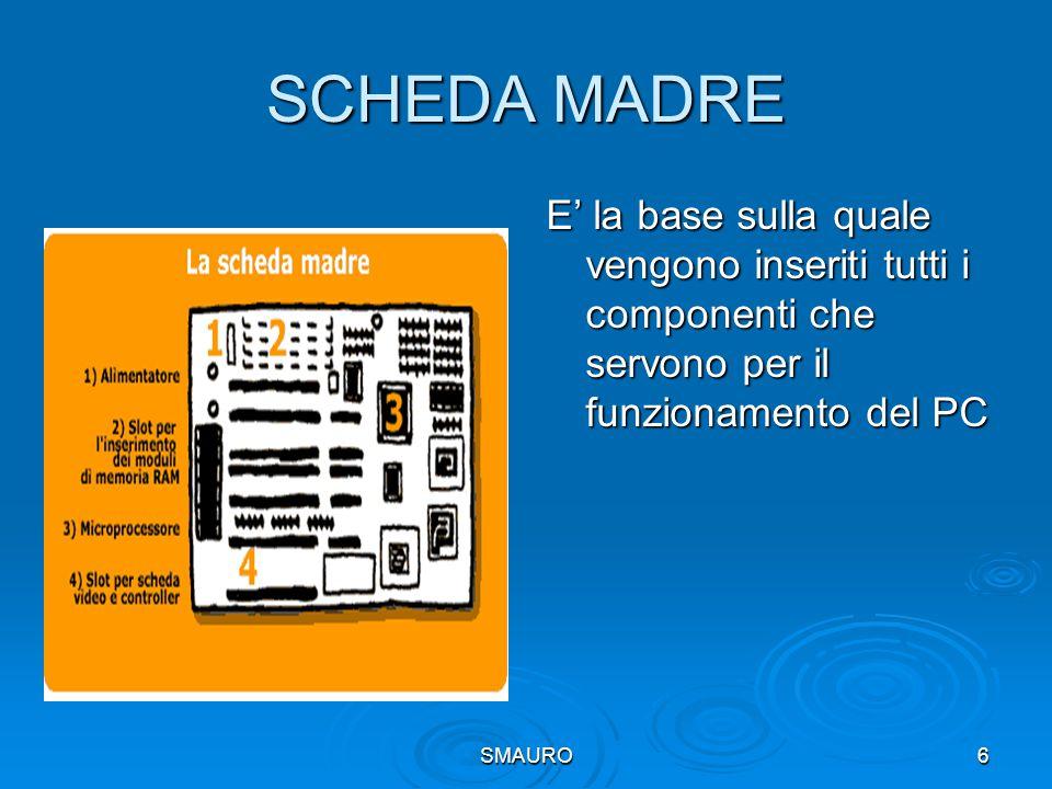 SMAURO6 SCHEDA MADRE E' la base sulla quale vengono inseriti tutti i componenti che servono per il funzionamento del PC