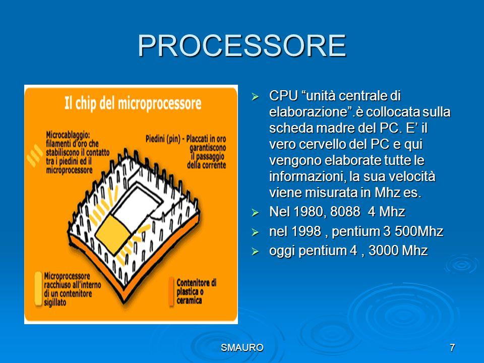"""SMAURO7 PROCESSORE  CPU """"unità centrale di elaborazione"""".è collocata sulla scheda madre del PC. E' il vero cervello del PC e qui vengono elaborate tu"""