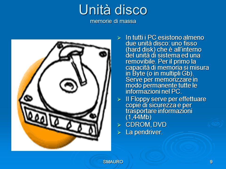 SMAURO9 Unità disco memorie di massa  In tutti i PC esistono almeno due unità disco: uno fisso (hard disk) che è all'interno del unità di sistema ed