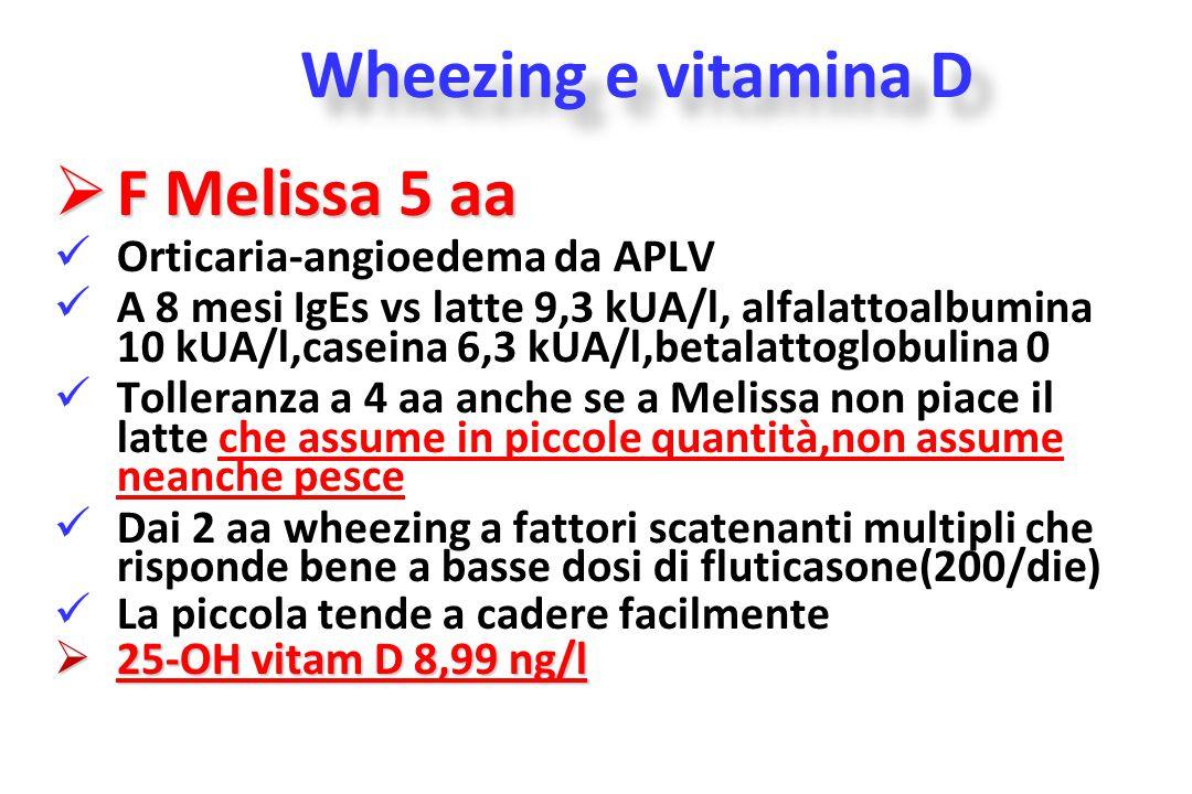  F Melissa 5 aa Orticaria-angioedema da APLV A 8 mesi IgEs vs latte 9,3 kUA/l, alfalattoalbumina 10 kUA/l,caseina 6,3 kUA/l,betalattoglobulina 0 Toll