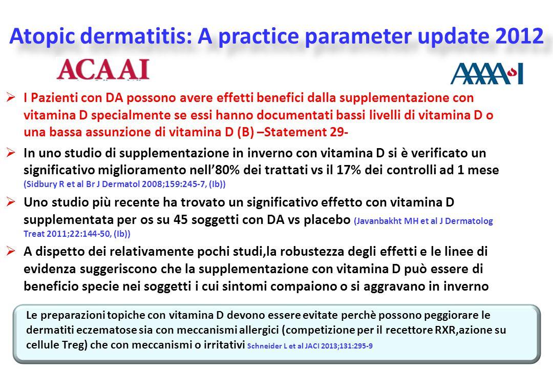  I Pazienti con DA possono avere effetti benefici dalla supplementazione con vitamina D specialmente se essi hanno documentati bassi livelli di vitam