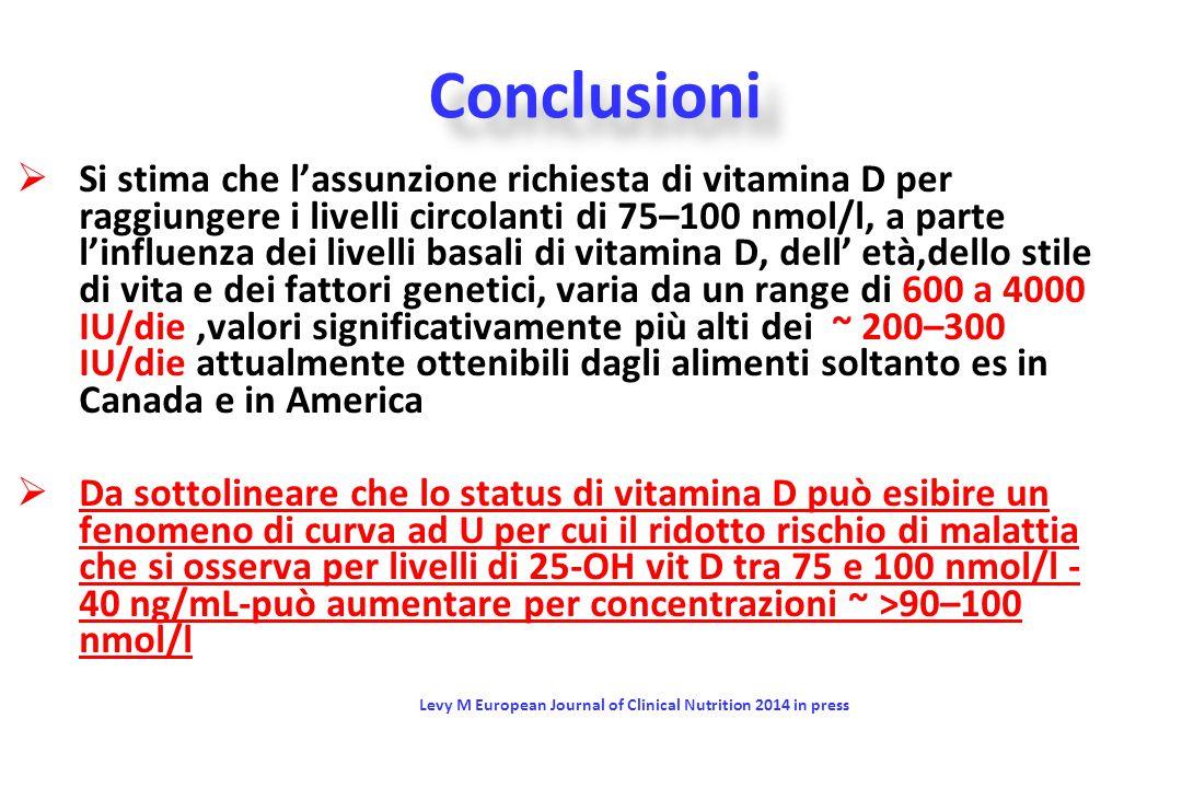  Si stima che l'assunzione richiesta di vitamina D per raggiungere i livelli circolanti di 75–100 nmol/l, a parte l'influenza dei livelli basali di v