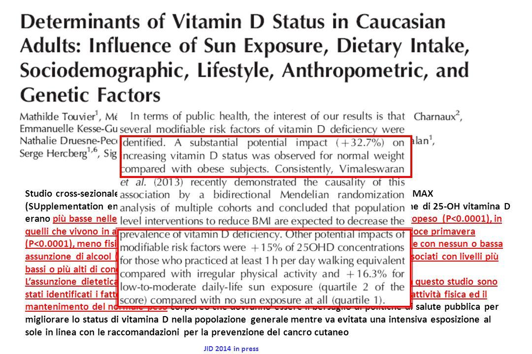 I bambini che assumevano vitamina D stavano meglio rispetto a quelli che assumevano placebo (test di Fisher esatto P =.03) Il beneficio della vitamina D era rilevabile ad 1 mese anche se i dati a favore della vitamina D cominciavano a manifestarsi già a 2 settimane( vitamina D 45% vs placebo 33%; P=.24) I dati erano statisticamente significativi ad 1 mese (vitamina D 64% vs placebo 43%; P =.03).