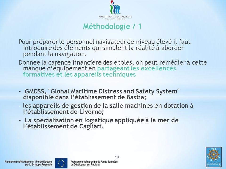 10 Méthodologie / 1 Pour préparer le personnel navigateur de niveau élevé il faut introduire des éléments qui simulent la réalité à aborder pendant la navigation.