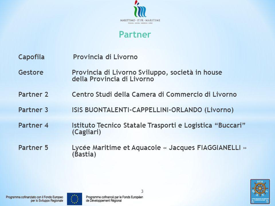 3 Partner Capofila Provincia di Livorno GestoreProvincia di Livorno Sviluppo, società in house della Provincia di Livorno Partner 2Centro Studi della Camera di Commercio di Livorno Partner 3ISIS BUONTALENTI-CAPPELLINI-ORLANDO (Livorno) Partner 4Istituto Tecnico Statale Trasporti e Logistica Buccari (Cagliari) Partner 5Lycée Maritime et Aquacole « Jacques FIAGGIANELLI » (Bastia)