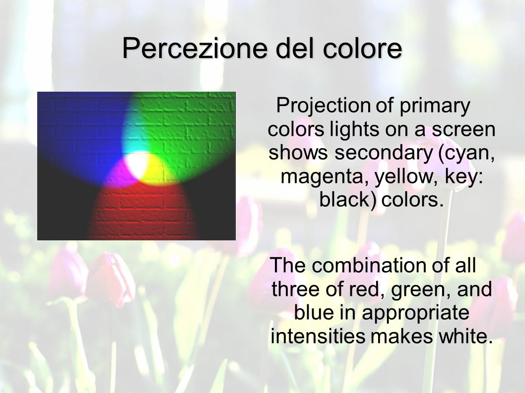 Percezione del colore Projection of primary colors lights on a screen shows secondary (cyan, magenta, yellow, key: black) colors.