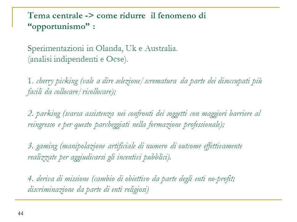 """Tema centrale -> come ridurre il fenomeno di """"opportunismo"""" : Sperimentazioni in Olanda, Uk e Australia. (analisi indipendenti e Ocse). 1. cherry pick"""