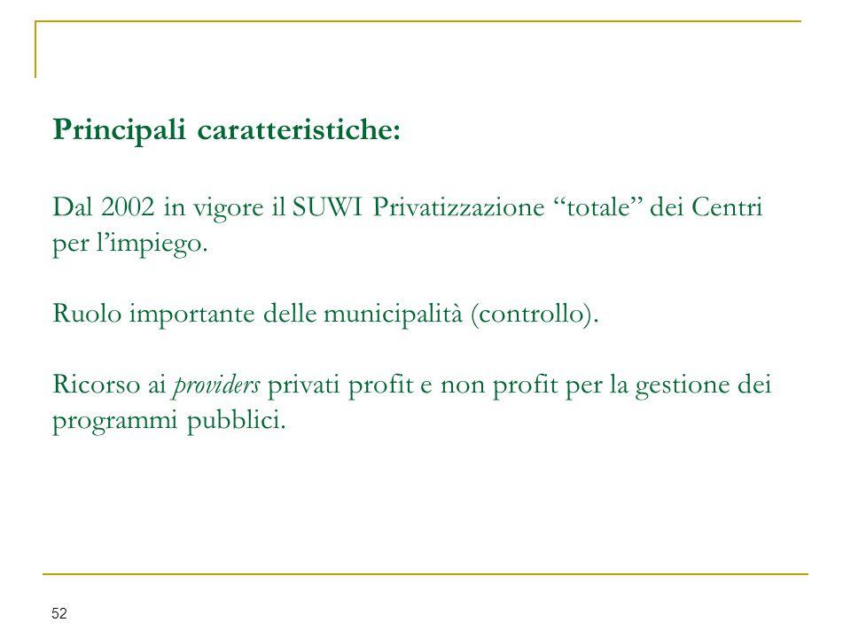 """Principali caratteristiche: Dal 2002 in vigore il SUWI Privatizzazione """"totale"""" dei Centri per l'impiego. Ruolo importante delle municipalità (control"""