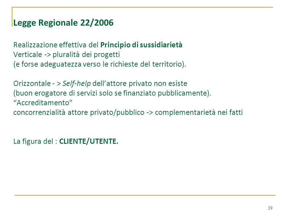 59 Legge Regionale 22/2006 Realizzazione effettiva del Principio di sussidiarietà Verticale -> pluralità dei progetti (e forse adeguatezza verso le ri