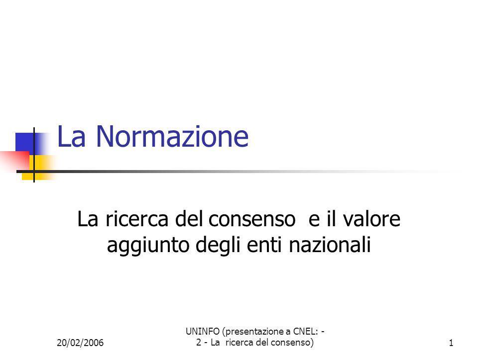 20/02/2006 UNINFO (presentazione a CNEL: - 2 - La ricerca del consenso)2 Sommario Diversi tipi di normazione La normazione open and voluntary Come va Come dovrebbe andare Case studies