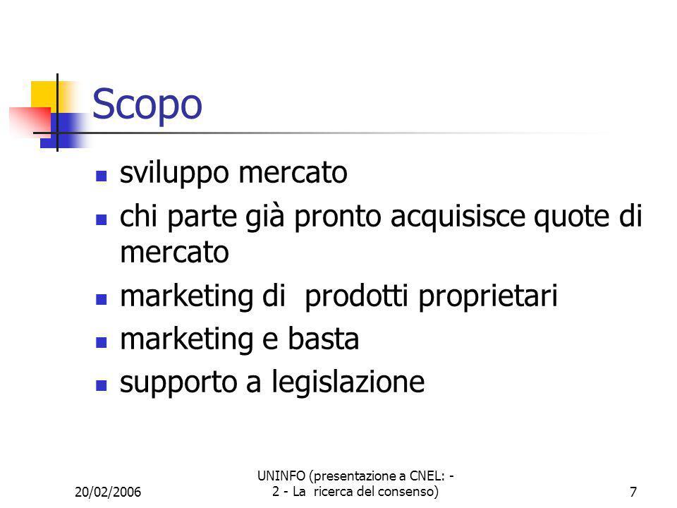 20/02/2006 UNINFO (presentazione a CNEL: - 2 - La ricerca del consenso)8 Le organizzazioni Consorzi De jure Le regole