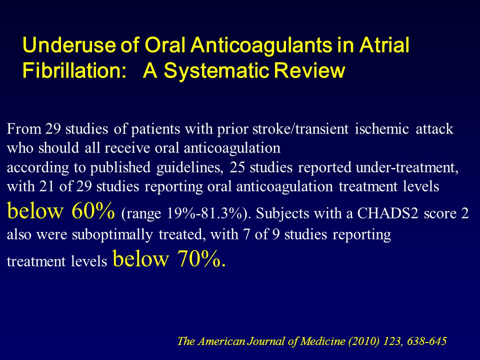 Underuse of Oral Anticoagulants in Atrial Fibrillation: A Systematic Review The American Journal of Medicine (2010) 123, 638-645 From 29 studies of patients with prior stroke/transient ischemic attack who should all receive oral anticoagulation according to published guidelines, 25 studies reported under-treatment, with 21 of 29 studies reporting oral anticoagulation treatment levels below 60% (range 19%-81.3%).