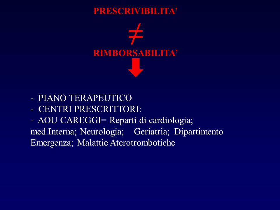 PRESCRIVIBILITA' ≠ RIMBORSABILITA' - PIANO TERAPEUTICO - CENTRI PRESCRITTORI: - AOU CAREGGI= Reparti di cardiologia; med.Interna; Neurologia; Geriatria; Dipartimento Emergenza; Malattie Aterotrombotiche