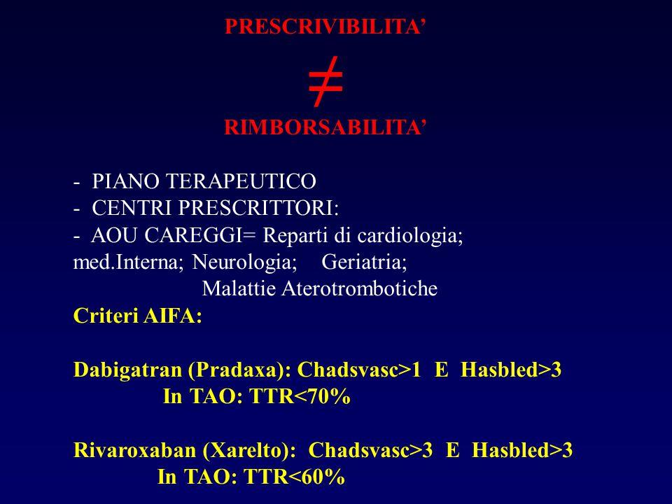 PRESCRIVIBILITA' ≠ RIMBORSABILITA' - PIANO TERAPEUTICO - CENTRI PRESCRITTORI: - AOU CAREGGI= Reparti di cardiologia; med.Interna; Neurologia; Geriatria; Malattie Aterotrombotiche Criteri AIFA: Dabigatran (Pradaxa): Chadsvasc>1 E Hasbled>3 In TAO: TTR<70% Rivaroxaban (Xarelto): Chadsvasc>3 E Hasbled>3 In TAO: TTR<60%