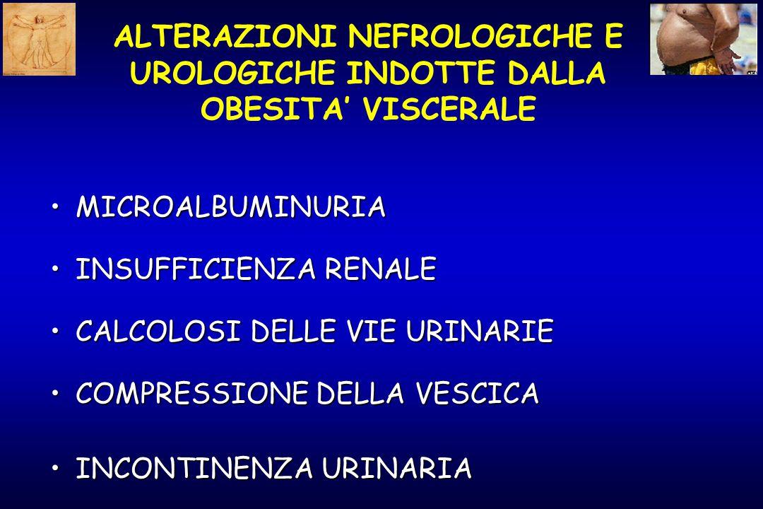 ALTERAZIONI NEFROLOGICHE E UROLOGICHE INDOTTE DALLA OBESITA' VISCERALE MICROALBUMINURIAMICROALBUMINURIA INSUFFICIENZA RENALEINSUFFICIENZA RENALE CALCOLOSI DELLE VIE URINARIECALCOLOSI DELLE VIE URINARIE COMPRESSIONE DELLA VESCICACOMPRESSIONE DELLA VESCICA INCONTINENZA URINARIAINCONTINENZA URINARIA