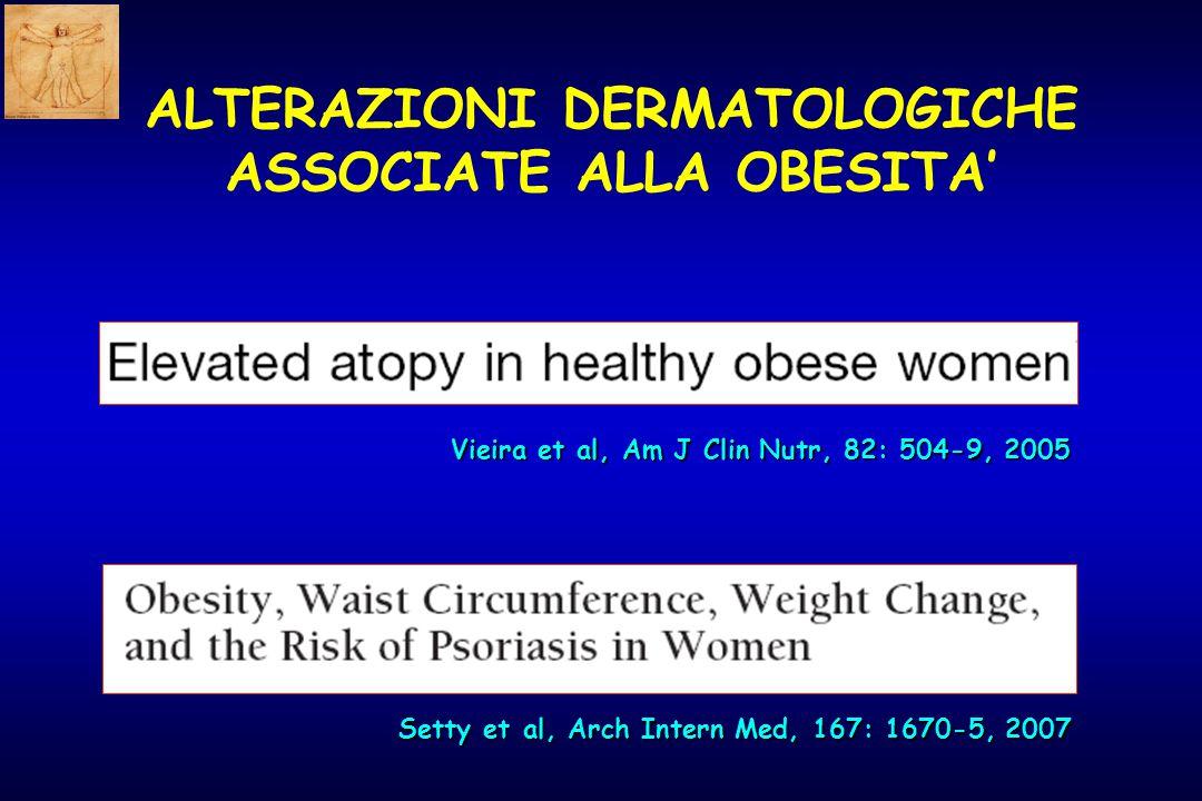 Vieira et al, Am J Clin Nutr, 82: 504-9, 2005 Setty et al, Arch Intern Med, 167: 1670-5, 2007 ALTERAZIONI DERMATOLOGICHE ASSOCIATE ALLA OBESITA'