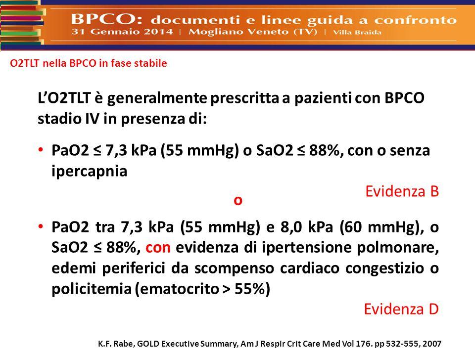 O2TLT nella BPCO in fase stabile L'O2TLT è generalmente prescritta a pazienti con BPCO stadio IV in presenza di: PaO2 ≤ 7,3 kPa (55 mmHg) o SaO2 ≤ 88%