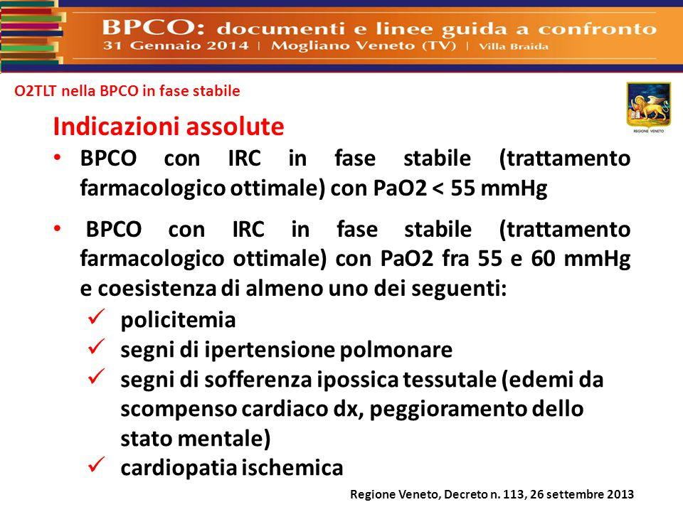 O2TLT nella BPCO in fase stabile Indicazioni assolute BPCO con IRC in fase stabile (trattamento farmacologico ottimale) con PaO2 < 55 mmHg BPCO con IR