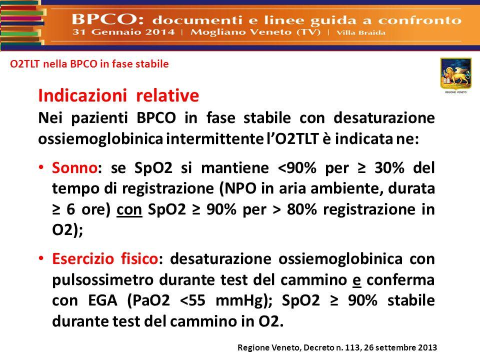 O2TLT nella BPCO in fase stabile Regione Veneto, Decreto n. 113, 26 settembre 2013 Indicazioni relative Nei pazienti BPCO in fase stabile con desatura