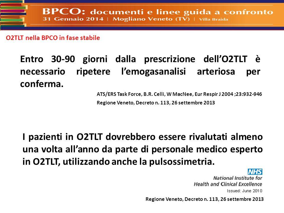 Entro 30-90 giorni dalla prescrizione dell'O2TLT è necessario ripetere l'emogasanalisi arteriosa per conferma. ATS/ERS Task Force, B.R. Celli, W MacNe