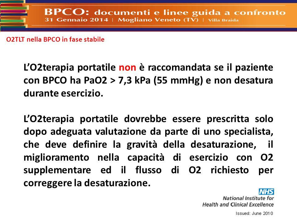 O2TLT nella BPCO in fase stabile L'O2terapia portatile non è raccomandata se il paziente con BPCO ha PaO2 > 7,3 kPa (55 mmHg) e non desatura durante e