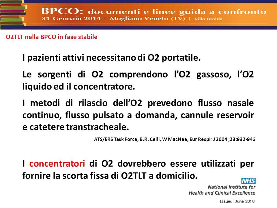 O2TLT nella BPCO in fase stabile I concentratori di O2 dovrebbero essere utilizzati per fornire la scorta fissa di O2TLT a domicilio. I pazienti attiv