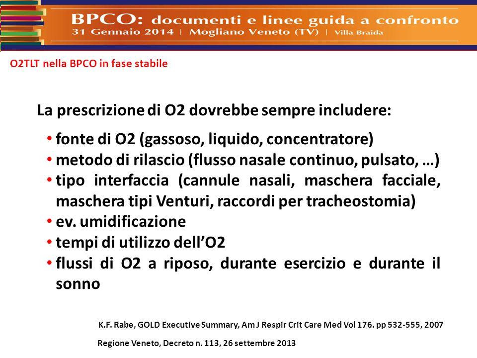 O2TLT nella BPCO in fase stabile La prescrizione di O2 dovrebbe sempre includere: fonte di O2 (gassoso, liquido, concentratore) metodo di rilascio (fl