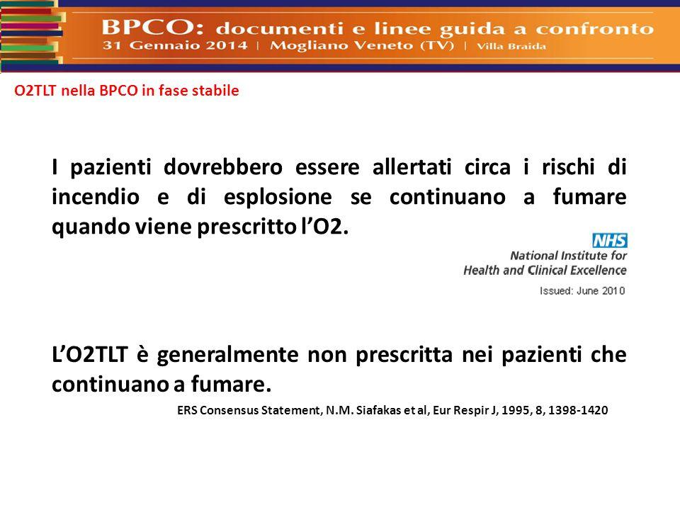 O2TLT nella BPCO in fase stabile I pazienti dovrebbero essere allertati circa i rischi di incendio e di esplosione se continuano a fumare quando viene