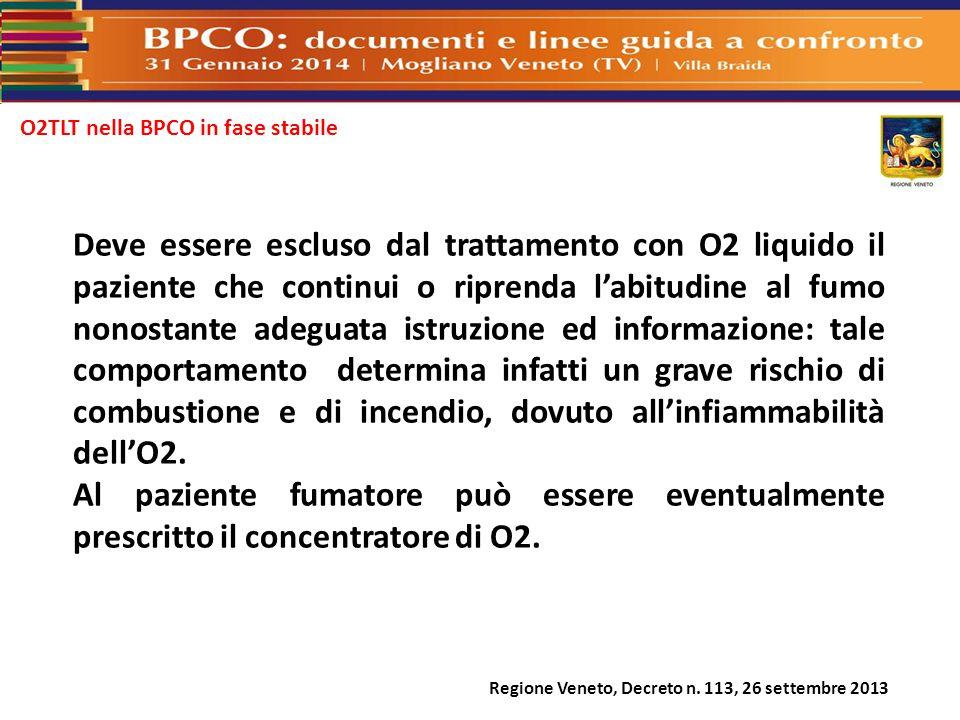 O2TLT nella BPCO in fase stabile Deve essere escluso dal trattamento con O2 liquido il paziente che continui o riprenda l'abitudine al fumo nonostante
