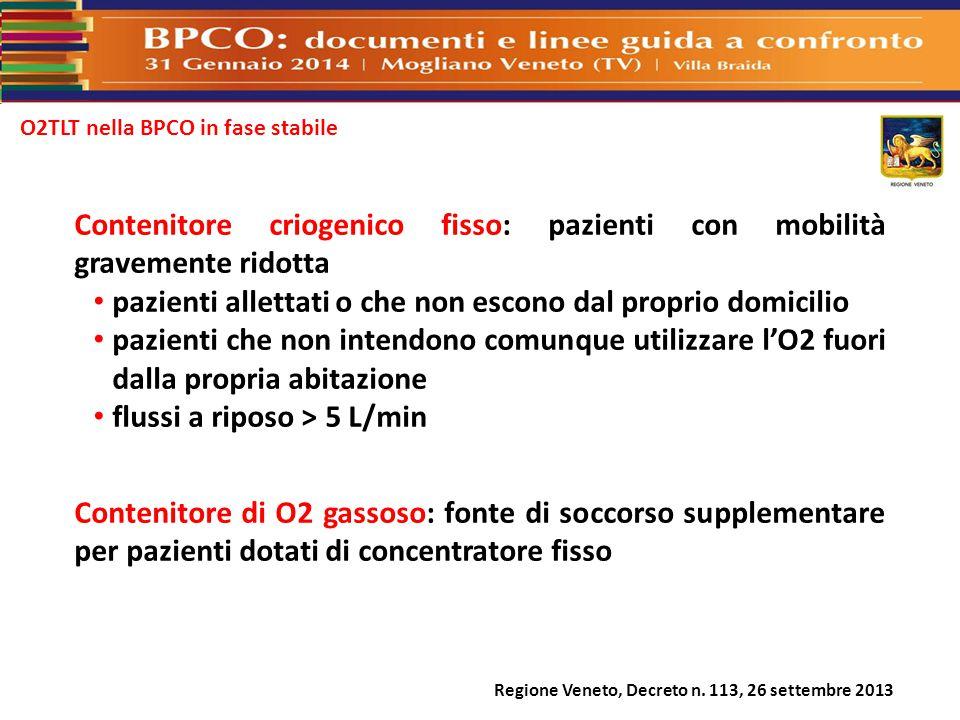 O2TLT nella BPCO in fase stabile Regione Veneto, Decreto n. 113, 26 settembre 2013 Contenitore criogenico fisso: pazienti con mobilità gravemente rido