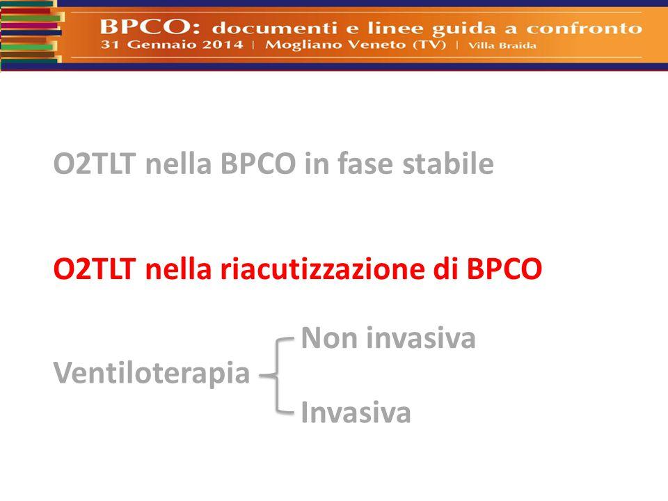 O2TLT nella BPCO in fase stabile O2TLT nella riacutizzazione di BPCO Ventiloterapia Non invasiva Invasiva
