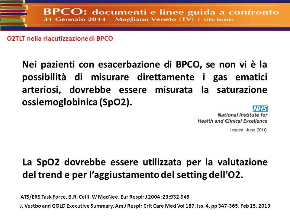 O2TLT nella riacutizzazione di BPCO ATS/ERS Task Force, B.R. Celli, W MacNee, Eur Respir J 2004 ;23:932-946 La SpO2 dovrebbe essere utilizzata per la