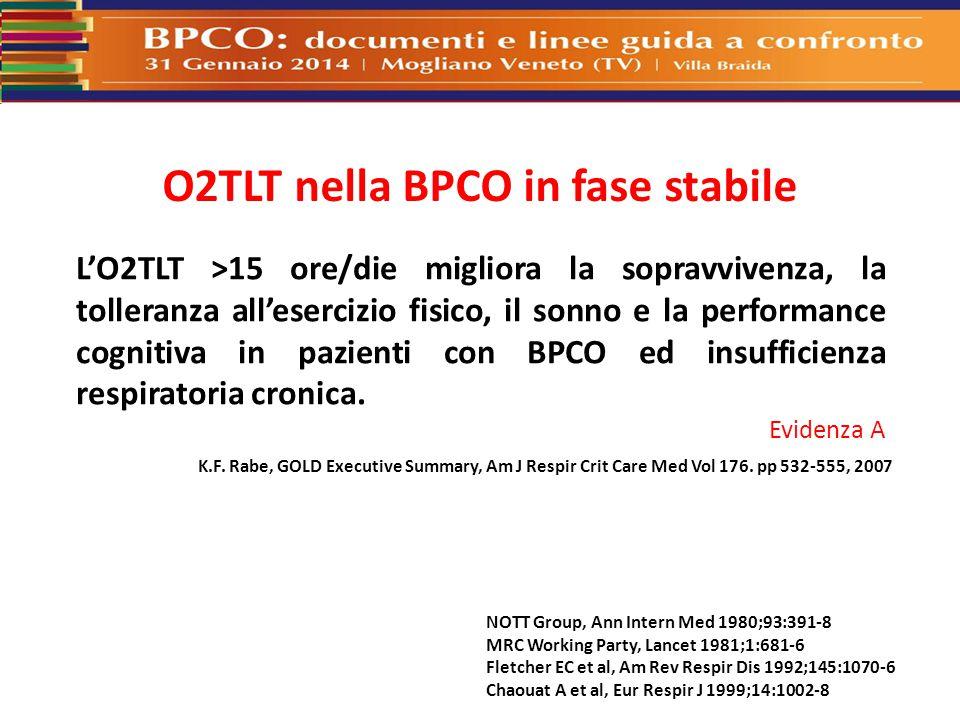 O2TLT nella BPCO in fase stabile NOTT Group, Ann Intern Med 1980;93:391-8 MRC Working Party, Lancet 1981;1:681-6 Fletcher EC et al, Am Rev Respir Dis