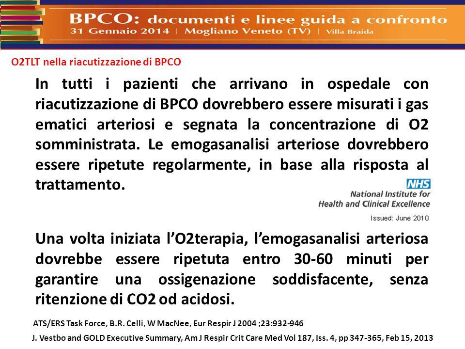 O2TLT nella riacutizzazione di BPCO In tutti i pazienti che arrivano in ospedale con riacutizzazione di BPCO dovrebbero essere misurati i gas ematici