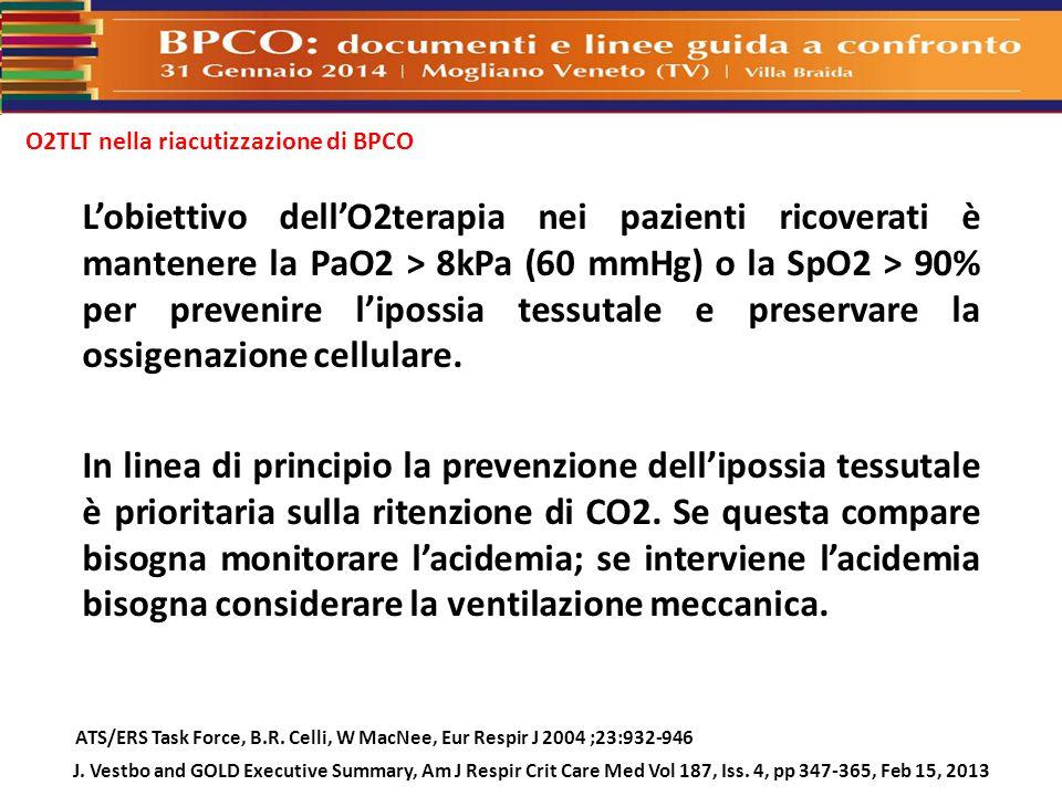O2TLT nella riacutizzazione di BPCO ATS/ERS Task Force, B.R. Celli, W MacNee, Eur Respir J 2004 ;23:932-946 J. Vestbo and GOLD Executive Summary, Am J
