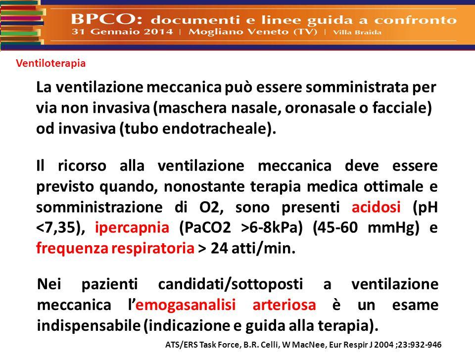 Ventiloterapia ATS/ERS Task Force, B.R. Celli, W MacNee, Eur Respir J 2004 ;23:932-946 La ventilazione meccanica può essere somministrata per via non