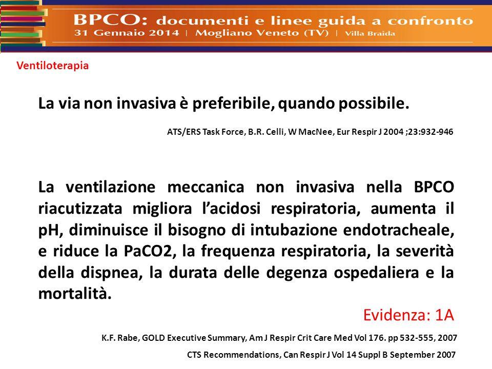 La via non invasiva è preferibile, quando possibile. ATS/ERS Task Force, B.R. Celli, W MacNee, Eur Respir J 2004 ;23:932-946 La ventilazione meccanica