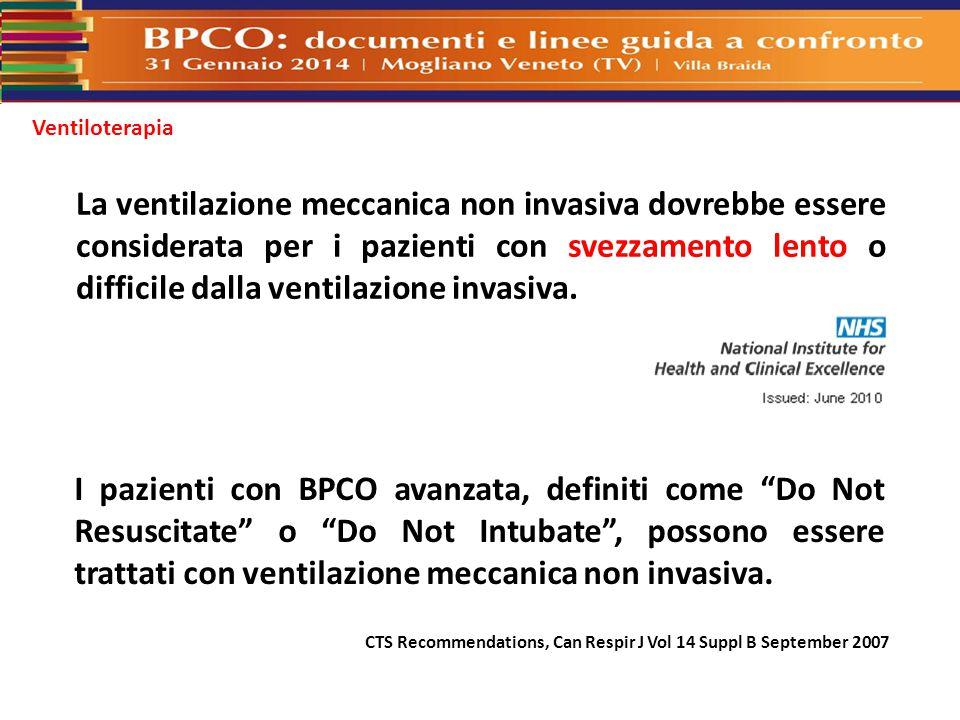 Ventiloterapia La ventilazione meccanica non invasiva dovrebbe essere considerata per i pazienti con svezzamento lento o difficile dalla ventilazione