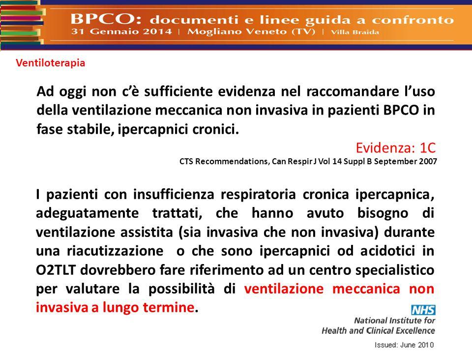 Ventiloterapia I pazienti con insufficienza respiratoria cronica ipercapnica, adeguatamente trattati, che hanno avuto bisogno di ventilazione assistit