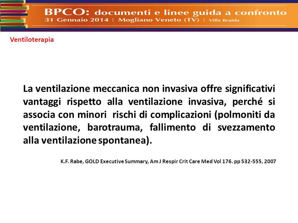 Ventiloterapia La ventilazione meccanica non invasiva offre significativi vantaggi rispetto alla ventilazione invasiva, perché si associa con minori r