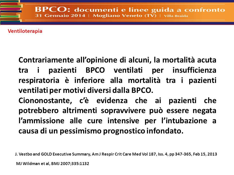 Ventiloterapia Contrariamente all'opinione di alcuni, la mortalità acuta tra i pazienti BPCO ventilati per insufficienza respiratoria è inferiore alla