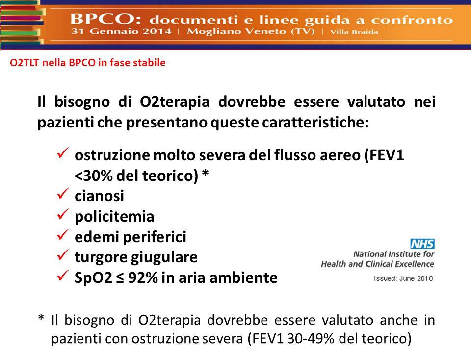 O2TLT nella BPCO in fase stabile Il bisogno di O2terapia dovrebbe essere valutato nei pazienti che presentano queste caratteristiche: ostruzione molto