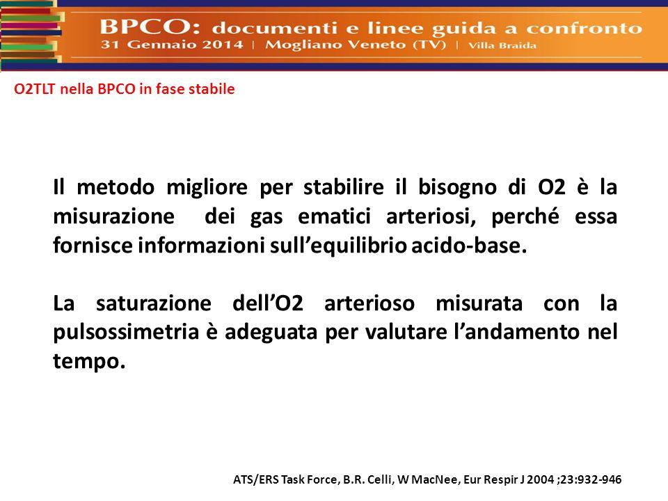 O2TLT nella BPCO in fase stabile Il metodo migliore per stabilire il bisogno di O2 è la misurazione dei gas ematici arteriosi, perché essa fornisce in