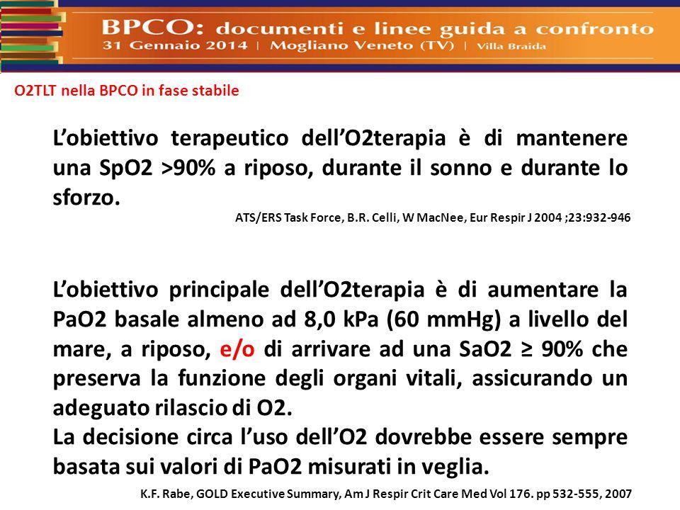 O2TLT nella BPCO in fase stabile L'obiettivo principale dell'O2terapia è di aumentare la PaO2 basale almeno ad 8,0 kPa (60 mmHg) a livello del mare, a