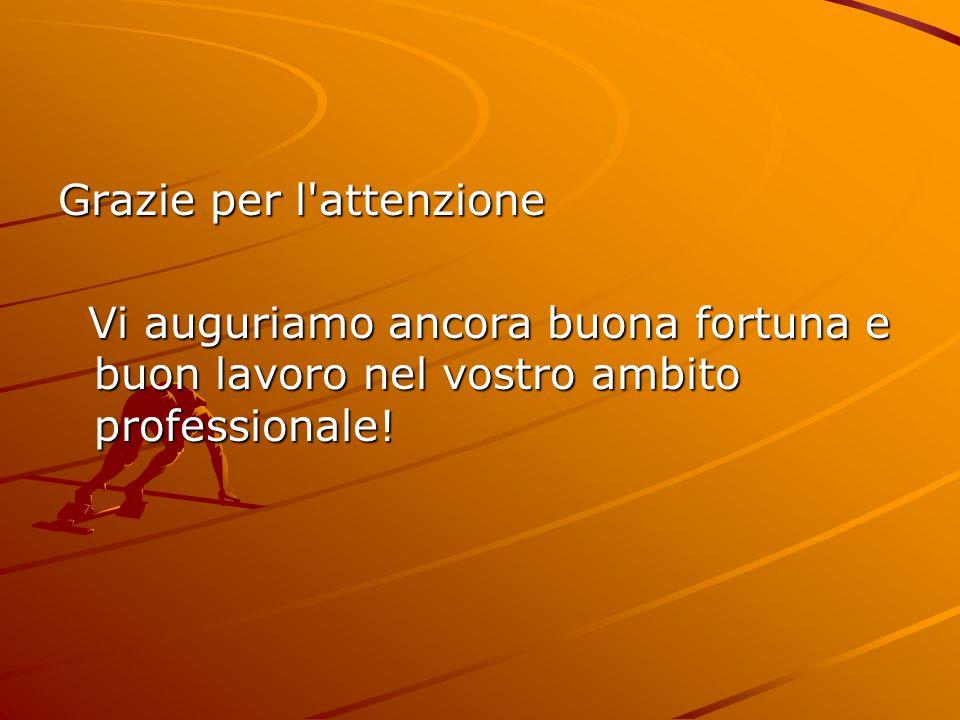 Grazie per l'attenzione Vi auguriamo ancora buona fortuna e buon lavoro nel vostro ambito professionale! Vi auguriamo ancora buona fortuna e buon lavo
