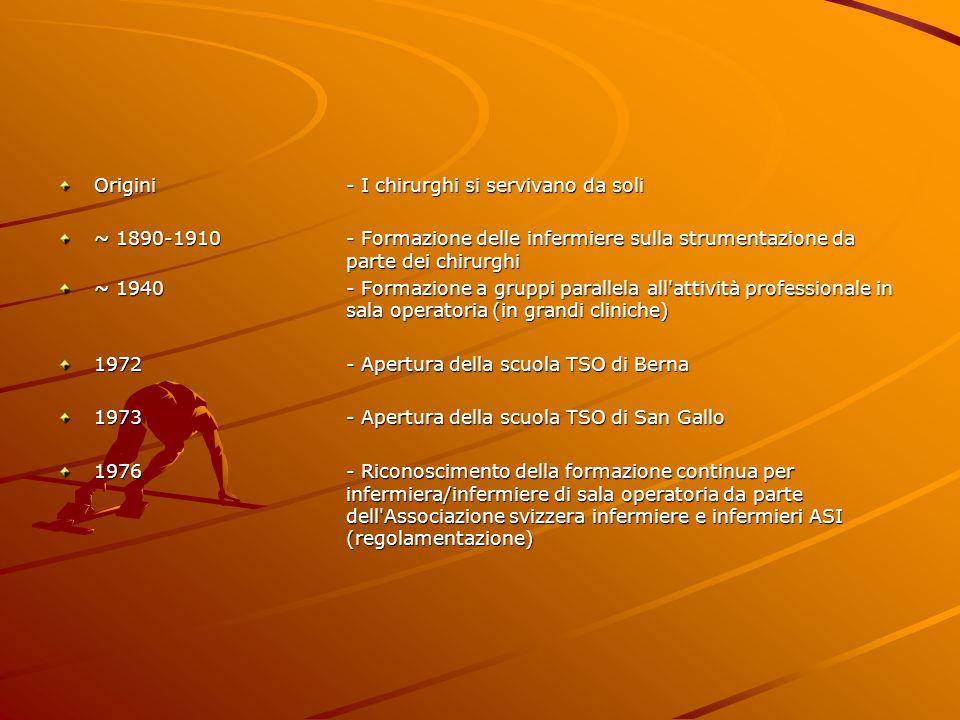 1977- Entrata in vigore di disposizioni e direttive sulla formazione per TSO 1987- Apertura della scuola TSO di Losanna 1988- Apertura della scuola TSO di Zurigo 1988- Approvazione di disposizioni e direttive sulla formazione per TSO da parte della Conferenza dei direttori cantonali della sanità (CDS) elaborate dalla Croce Rossa Svizzera (CRS) e affidamento dell incarico di controllo sulla formazione alla CRS → Riconoscimento 1991- Apertura della scuola TSO di Aarau 2002- Apertura della scuola TSO di Lugano