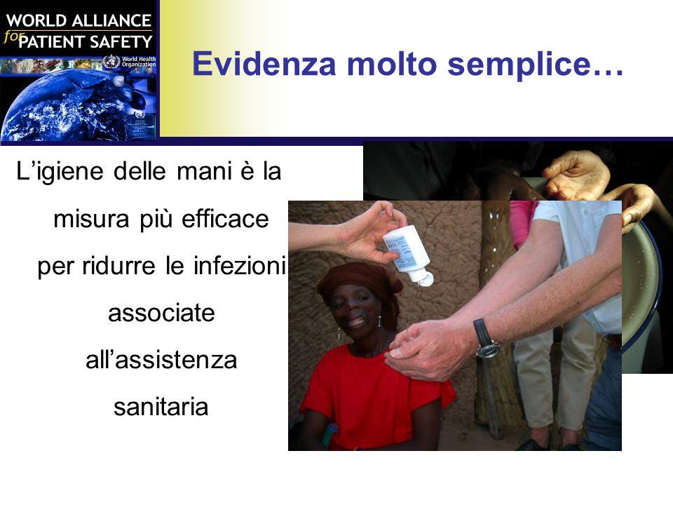 Evidenza molto semplice… L'igiene delle mani è la misura più efficace per ridurre le infezioni associate all'assistenza sanitaria